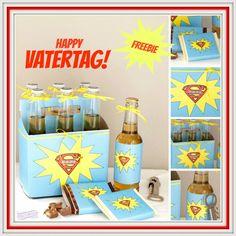 Freebie zum Vatertag! Super-Papi Printable für Schokolade, Bier und Tray. So cool!