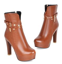 ed9553e8e07f Aisun Women s Fashion Studded Buckle Strap Round Toe Side Zipper Dress Chunky  High Heel Platform Booties Ankle Boots Shoes -- More info could be found at  ...