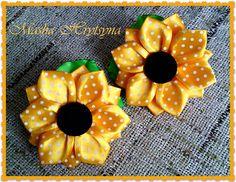Резиночки подсолнухи канзаши. Sunflowers kanzashi
