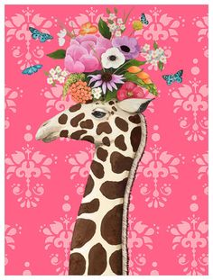 Eclectic animal art by Heather Gauthier featuring a towering giraffe with a beautiful bouquet of flowers atop it's head. Set against a pretty pink background, the contrasting colors and patterns in this piece make it both stunning and unique. Wall Prints, Framed Art Prints, Canvas Prints, Giraffe Art, Giraffes, Zebra Painting, Giraffe Pictures, Beautiful Textures, Canvas Artwork