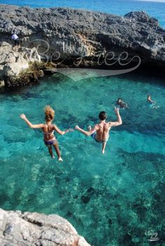 Summer girl boy love sea ocean relaxation holidays rest relax relaxation comfort vacation jump rocks