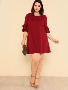 86fbb58119 Shop Plus Flounce Sleeve Solid Swing Dress online. SheIn offers Plus  Flounce Sleeve Solid Swing