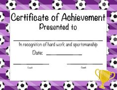 Free soccer certificates 000 for the kids pinterest soccer certificate of participation soccer award print at home soccer mvp soccer certificate of achievement purple soccer theme yelopaper Gallery