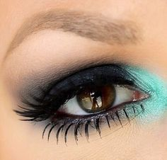 Smoky eye with a pop of color
