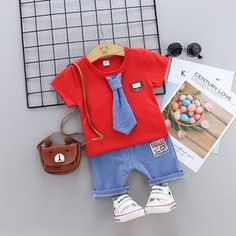 Cute tshirt for your kid perfect for any season. Made with cotton. Bow Tie Shirt, Tied Shirt, Tie Set, Red Fashion, Happy Valentines Day, Bad Boys, Red And White, Baby Kids, Overalls