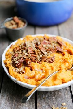 Browned Butter Mashed Sweet Potatoes By OhMyVeggies.com Sweet Potato Pecan, Mashed Sweet Potatoes, Sweet Potato Recipes, Thanksgiving Recipes, Fall Recipes, Real Food Recipes, Yummy Food, Thanksgiving Table, Christmas Recipes