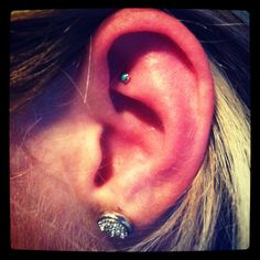 Faux rook piercing - turquoise and gold earring!! :)