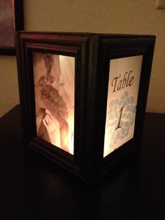 Illuminated picture frame for the centerpieces 60th for Picture frame candle centerpiece