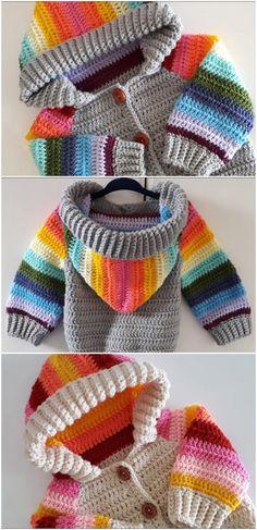 Crochet Baby Sweaters, Crochet Hoodie, Crochet Baby Clothes, Baby Knitting, Crochet Baby Stuff, Crochet For Kids, Free Crochet, Knit Crochet, Crochet Children