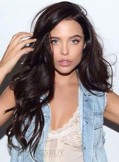 Attractive Long Loose Wave Full Lace Human Hair Wig 24 Inches