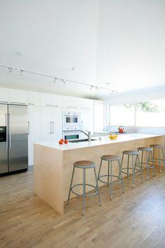 plywood + ikea kitchen // via dwell