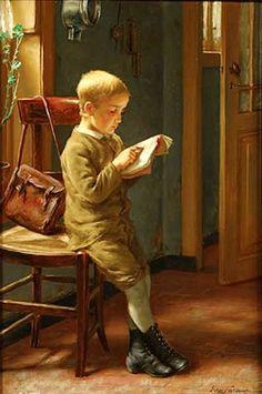 """""""Child reading"""". Edgar Farasyn (1848-1938) Belgian painter."""