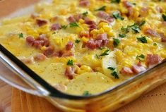 This Scalloped Potatoes, Ham and Corn Bake is a meal all in one. You will love all the flavors and comfort this meal brings to everyone! Baked Corn, Baked Ham, Potato Dishes, Potato Recipes, Ham Recipes, Recipies, Ham And Cheese Omelette, Scalloped Potatoes And Ham, Sliced Roast Beef
