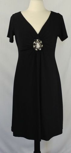 Susan Graver Small OurLittleSecret Body Shaper Liquid Knit Medallion Dress Black #SusanGraver #BodyShapingMedallionVNeckRuchedBodiceLiquidKnitBeadsLittleBlackDress #Cocktail