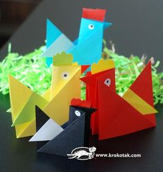 """Origami Hen Papercraft Project For Kids - by Krokotak - == -  A nice and easy-to-build project for little kids, by Russian educational website Krokotak. """"Merry hens – origami, made from coloured paper – they are easy to make and suitable for every Easter decoration."""" - Krokotak   A nice and easy-to-build project for little kids, by Russian educational website Kr..."""