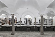 This 16th Century Baroque church turned architecture studio is a perfect blend of new and old. The shell of the church is intact but Italian architect Massimiliano Locatelli has created a materials library in a groin-vaulted space with ornate doric columns.