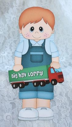 3D On the Shelf Card Kit - Little Toddler Cash is the Birthday Boy with ages 1 - 5 age HGV Lorry Decoupage by Marion Kimberley-Scott