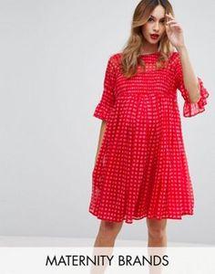 ASOS Maternity Gingham Smock Dress with Shirring Detail