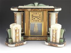 French Art Deco marble clock garniture, with an 8 day movement