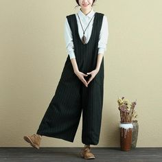 Fashionable Women Vertical Stripe With Pocket Green Rompers Jumpsuit