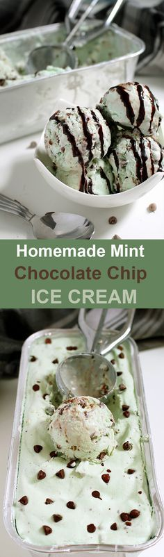 Homemade Mint Chocolate Chip Ice Cream Easy summer dessert recipe - Homemade Mint Chocolate Chip Ice Cream.. One of those moments when we are all children..