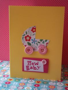 New Baby Card with flowery buggy and pink button by tickledrainbow, £3.00