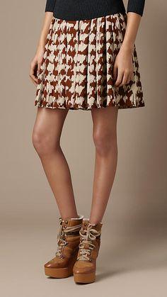 Burberry Brit Silk Tweed Print Skirt