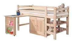 Niskie Drewniane łóżko piętrowe BED 1 z biurkiem i szafką wykonane z drewna