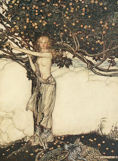 """megarah-moon: """" """"Freya, Goddess of Youth"""" by Arthur Rackham Freya was a warrior goddess, a Valkyrie, and also the goddess of sensual love. Though this captivating goddess had numerous lovers, she was..."""