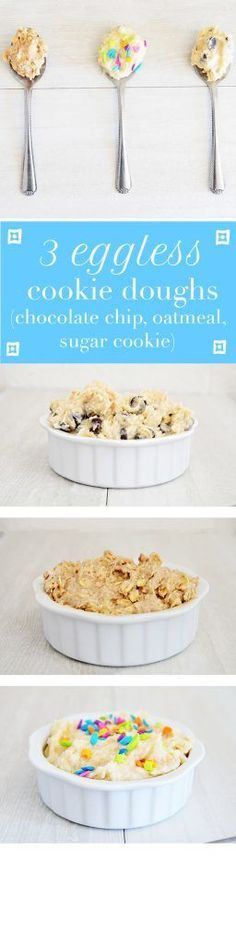 Three recipes for eggless cookie dough - chocolate chip, sugar cookie, and oatmeal. Perfect for pregnancy, or any one who doesn't want salmonella! (Chocolate Desserts For One) Cookie Dough Recipes, Edible Cookie Dough, Chocolate Chip Cookie Dough, Chocolate Muffins, Chocolate Chocolate, Chocolate Desserts, Edible Cookies, Galletas Cookies, Eggless Recipes