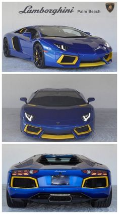 Cool blue and yellow Lamborghini Aventador looking very much like a hot wheels car! #autoawesome