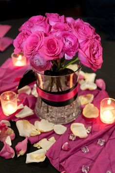 Pink Wedding Roses with Candlelight