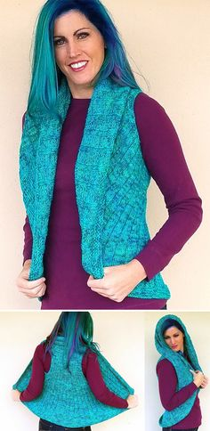 """Free Knitting Pattern for Vivado Shrug - This ribbed shrug is knitted with a back panel, and then extra stitches are cast on and the outer circle is knit in the round forming the armholes. Designed by SKEINO LLC. Sizes S - XXL (Chest - 32"""" - 54""""). DK weight yarn. It helped me picture how this pattern works to look at one of the Ravelry projects that showed the shrug flat."""