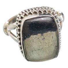 Pyrite In Magnetite (healer's Gold) 925 Sterling Silver Ring Size 7.5 RING763551