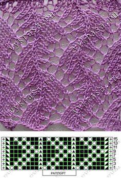Вяжем ажурный кружевной узор | узоры спицами | Постила