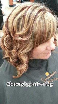 Blonde hair brown and red lowlights highlights