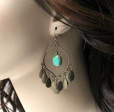 Bronze Fringe Turquoise Chandelier Earrings, Green Turquoise Czech Bohemian Hoops, Large Boho Dangles,Boho Chic Jewelry, Gypsy Jewelry