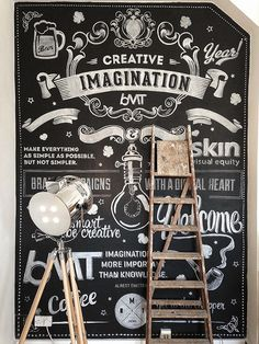 Chalk Wall by Ricardo Martins, via Behance Blackboard Art, Chalkboard Lettering, Chalkboard Designs, Chalkboard Walls, Chalkboard Ideas, Mural Art, Wall Murals, Lettering Design, Graphic Design Typography