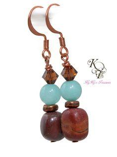 Copper Earrings, Jasper Earrings, Gemstone Earring, Brown and Blue Earrings, Brown Earrings, Gift for Her, Mothers Day Gift, Birthday Gift