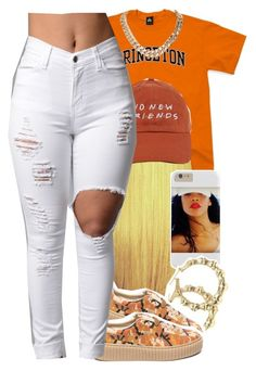 """Orange:🈷"" by jchristina ❤ liked on Polyvore featuring Puma"