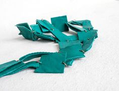 Items similar to Leather Necklace / Jade Green Block Leather Necklace / Long Necklace / Boho Necklace / Statement Necklace on Etsy Leather Necklace, Boho Necklace, Jade Green, Jewelry Accessories, Handmade Jewelry, Etsy, Leather Collar, Handmade Jewellery, Craft Jewelry