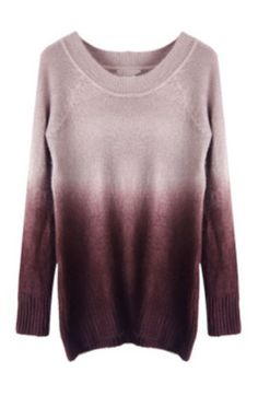 Coffee Gradient Long Sleeve Pullovers Sweater