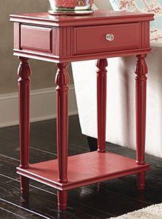 Cranberry Cameron Wood Table with Shelf and Drawer #SimplyAbundant #EndTable #NIghtstand