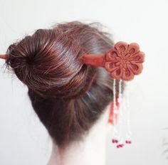 kyoto moon hair stick-kanzashi Geisha hair pin by theancientmuse