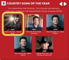 It Goes Like This, Cast Your Vote, Entertainer Of The Year, Song Of The Year, Thomas Rhett, Faith Hill, Tim Mcgraw, Luke Bryan, Keith Urban