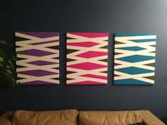 DIY Canvas art with frog tape and acrylic paint - Finished Project