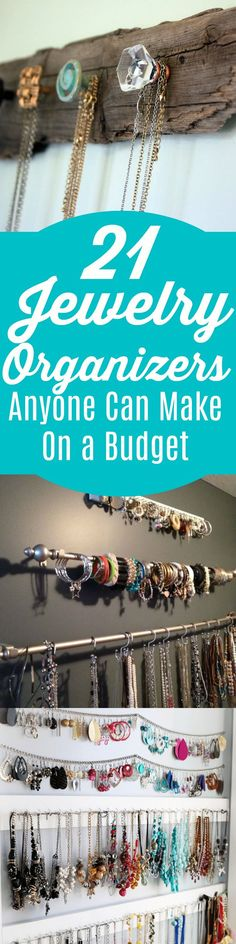 These 21 jewelry organization ideas are THE BEST! I'm so glad I came across these! These jewelry organizers will gorgeously display my jewelry while keeping it organized and prevent tangling!  Now to pick which one when I like them ALL! Pinning for sure!