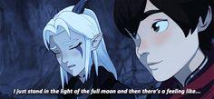 ⁺˚*・༓☾ moonshadow powers vs. moon prism power ☽༓・*˚⁺‧ Rayla Dragon Prince, Prince Dragon, Dragon Princess, Rayla X Callum, Princess Of Power, The Last Airbender, Fantasy Creatures, Dreamworks, Elves