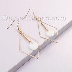 """Copper & Shell Earrings Gold Plated White Geometric Rhombus Hollow 72mm(2 7/8"""") x 31mm(1 2/8""""), 1 Pair"""