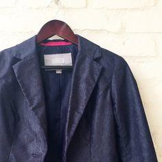 Merona Blue Blazer Fabric is cotton/poly blend that looks similar to denim. Machine wash cold lay flat to dry. Merona Jackets & Coats Blazers